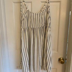 White with black thin spaghetti strap dress